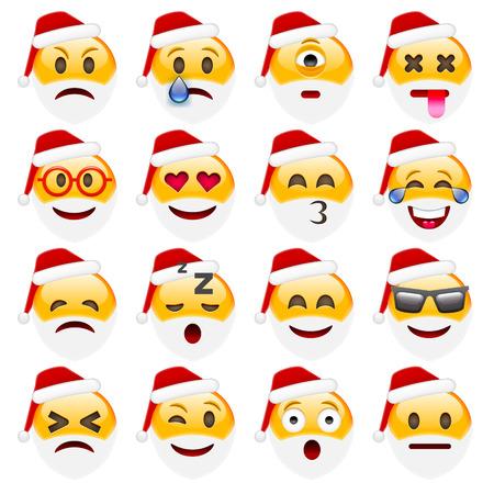 amorousness: Set of Smile Emoticons for Christmas and New Year. Isolated vector illustration on white background Illustration