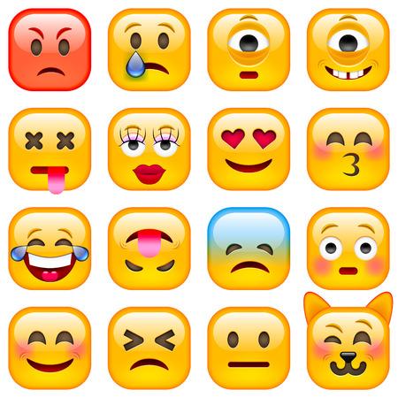flushed: Set of Square Smile Emoticons. Isolated vector illustration on white background