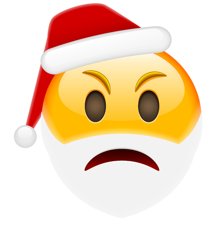 flattered: Angry Santa Smile Emoticon for Christmas and New Year. Isolated vector illustration on white background