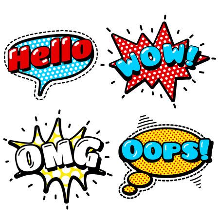 Moda Patch Distintivi con Ciao, WOW, OMG, ops. Bolle di discorso, stelle e altri elementi. Set di adesivi, spille, toppe in fumetto anni '80 -'90 Comic Style. Vettoriali