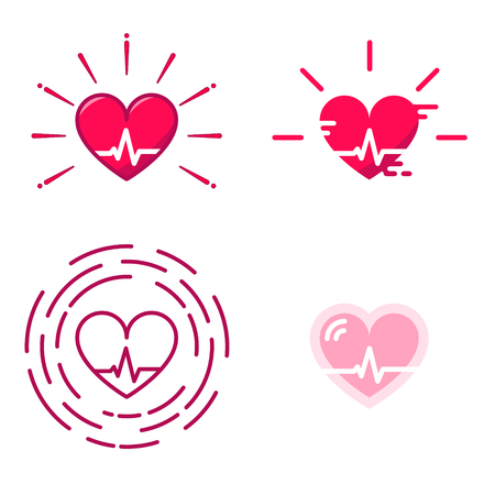 Blood Pressure Vector Icons. Good Health . Heart Cheering Cardiogram. Healthy Pulse Flat Symbol. Medical Pulsometer Element. Heartbeat Label Hospital Equipment Concept Design Isolated on White Sign