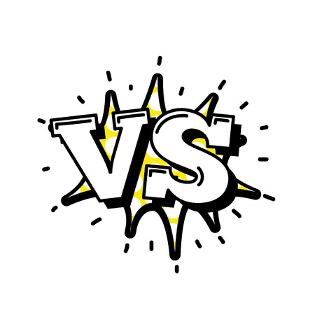 competitive sport: Versus Letters or VS Logo Vector Emblems on Explosion Shape. Fashion Patch Badges with Versus. VS Bubbles, Stars and Other Elements. Set of Stickers, Pins, Patches in Cartoon 80s-90s Comic Style.