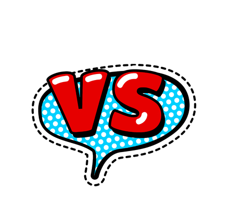 Versus Letters or VS Logo Vector Emblems on Explosion Shape. Fashion Patch Badges with Versus. VS Bubbles, Stars and Other Elements. Set of Stickers, Pins, Patches in Cartoon 80s-90s Comic Style.