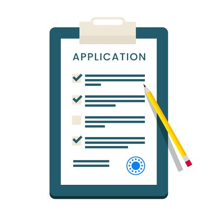 claim: Vector Application Form. Documents with Stamp and Pencil. Illustration