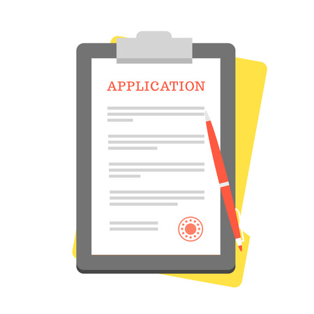 claim: Vector Application Form. Documents with Stamp and Pen. Illustration