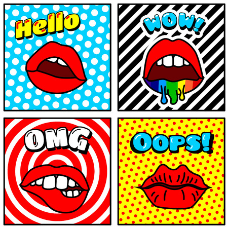 Set of Vector Cards and Banners in Cartoon 80s-90s Pop Art Style with Fashion Patches, Pins and Stickers. For Cover Design, Book Design,  Advertising, Poster, Greeting Cards and Banners Illustration