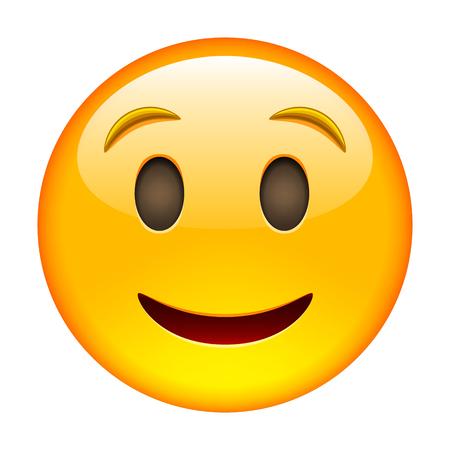 絵文字の笑顔。笑顔アイコン。黄色の絵文字。白い背景の上の隔離された図