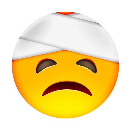 white smile: Emoticon with Damaged Bandaged Head. Smile icon. Yellow Emoji. Isolated Illustration on White Background
