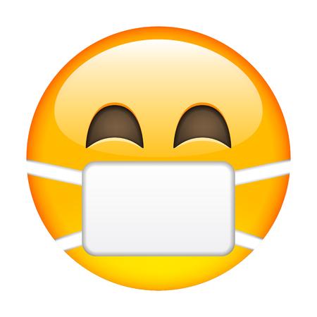 Smile of Emoticon with Surgical Mask. Smile icon. Yellow Emoji. Isolated Illustration on White Background 일러스트