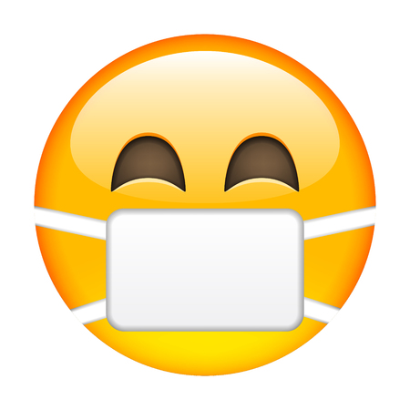 Smile of Emoticon with Surgical Mask. Smile icon. Yellow Emoji. Isolated Illustration on White Background Illustration