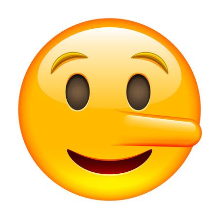white smile: Liar Smile of Emoticon. Smile icon. Yellow Emoji. Isolated Illustration on White Background Illustration