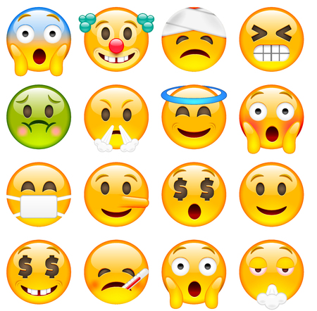 Set of Emoticons. Sixteen Smile icon. Yellow Emojis. Scared, Clown, Damaged, Winking, Angry, Saint, Ashamed, Liar, Happy, Sick, Smoking. Isolated Illustration on White Background