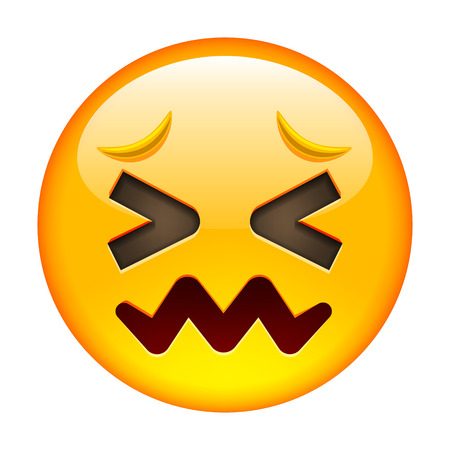 white smile: Confounded Unhappy Smile of Emoticon. Confused Smile Icon. Yellow Emoji. Isolated Illustration on White Background