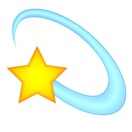 星の絵文字を周回しました。星に軌道の絵文字。白い背景の上の隔離された図