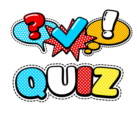 Vector Quiz embleem geïsoleerd. Vragenlijst Icon Sign. Poll Signs. Bubble Speech Expression Cartoons. Sociale Communicatie, chatten, Interview, Stemmen, Discussie, Talk, Team Dialog, Group Chat Symbolen