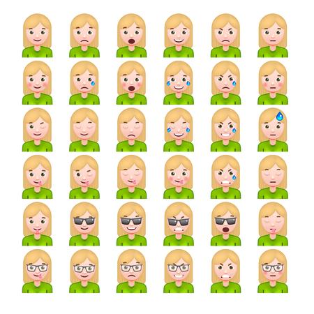 white smile: Set of Blonde Womens Realistic Emoticons. Set of Female Emojis. Smile icons. Isolated Vector Illustration on White Background