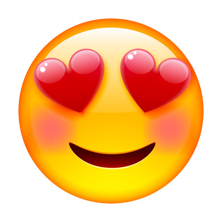 Smile in Love Emoticon. Emoji in Love. Isolated vector illustration on white background Illustration