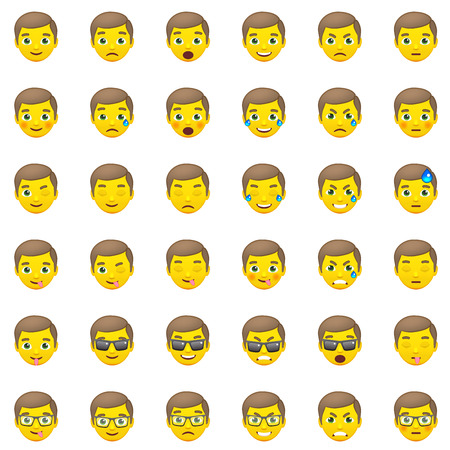 Set of Yellow with Brown Hair Men's Realistic Emoticons. Set of Human Emojis. Smile icons. Isolated vector illustration on white background
