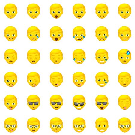 white smile: Set of Yellow Mens Realistic Emoticons. Set of Human Emojis. Smile icons. Isolated vector illustration on white background Illustration