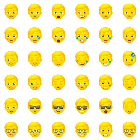 Set of Yellow Mens Realistic Emoticons. Set of Human Emojis. Smile icons. Isolated vector illustration on white background Illustration
