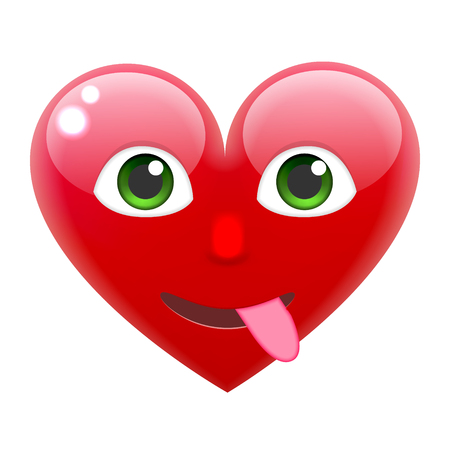 white smile: Heart Smile Emoticon with Tongue. Heart Emoji with Tongue. For 14th of February. For Saint Valentines Day. Isolated Vector Illustration on White Background Illustration