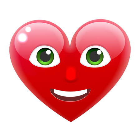 Smiling Heart Smile Emoticon with Teeth. Heart Emoji with Teeth. For 14th of February. For Saint Valentines Day. Isolated Vector Illustration on White Background