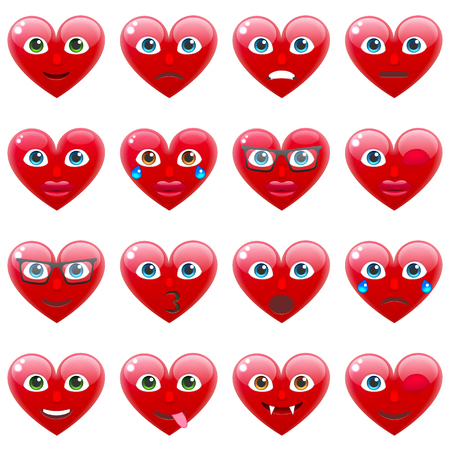 Set of Sexy Red Heart Smile Emoticons for Saint Valentines Day. Winking Heart Emoji for 14th of February
