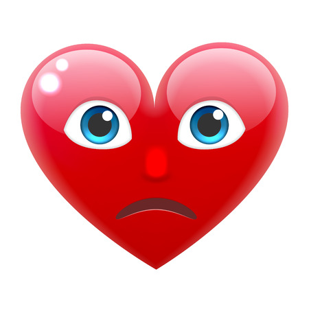 amorousness: Sad Heart Smile Emoticon. Unhappy Heart Emoji. For 14th of February. For Saint Valentines Day. Isolated Vector Illustration on White Background