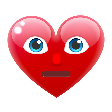 giggle: Embarrassed Heart Smile Emoticon. Embarrassed Heart Emoji. For 14th of February. For Saint Valentines Day. Isolated Vector Illustration on White Background Illustration