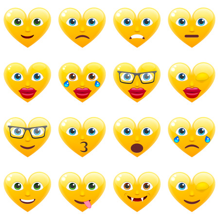 amorousness: Set of Sexy Yellow Heart Smile Emoticons for Saint Valentines Day. Winking Heart Emoji for 14th of February