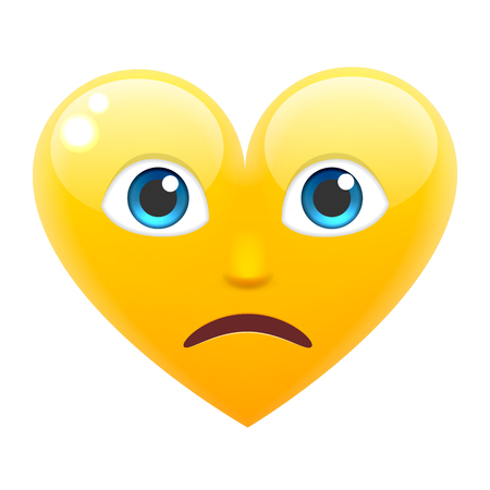Sad Heart Smile Emoticon. Unhappy Heart Emoji. For 14th of February. For Saint Valentines Day. Isolated Vector Illustration on White Background