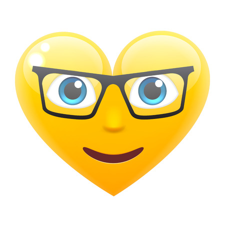 white smile: Happy Heart Smile Emoticon in Glasses. Heart Emoji in Glasses. For 14th of February. For Saint Valentines Day. Isolated Vector Illustration on White Background Illustration