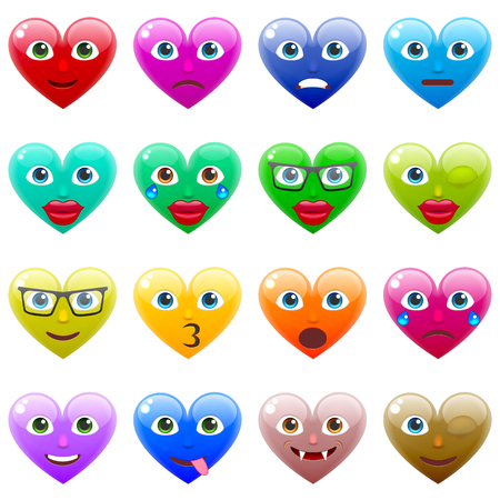 amorousness: Set of Sexy Colorful Heart Smile Emoticons for Saint Valentines Day. Winking Heart Emoji for 14th of February