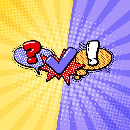 preguntando: Vector concurso insignia. Símbolo Icono cuestionario. Los signos de la encuesta. Expresión de la burbuja del discurso dibujos animados. Comunicación Social, chatear, Entrevista, votación, Discusión, Hablar, Equipo de diálogo, símbolos de chat en grupo