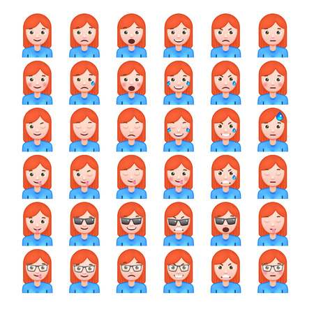赤髪女性の現実的な絵文字のセットです。女性の絵文字のセットです。笑顔のアイコン。白い背景の上の孤立したベクトル図