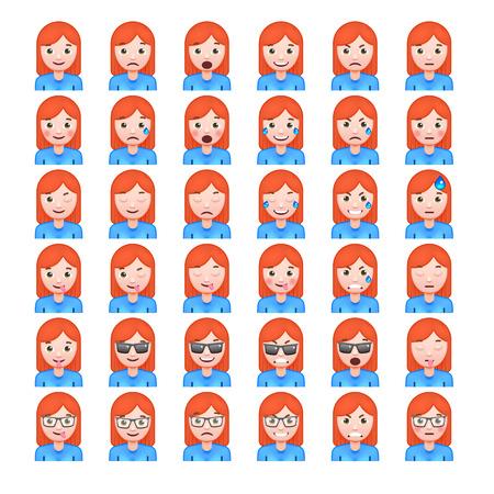 white smile: Set of Red Hair Womens Realistic Emoticons. Set of Female Emojis. Smile icons. Isolated Vector Illustration on White Background Illustration