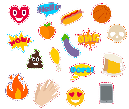 Fashion Patch Badges with Heart, Speech Bubbles, Fire, Eggplant, Peach, Hands. Vector Illustration Isolated on White Background. Set of Stickers, Pins, Patches in Cartoon Flat Comic Style.