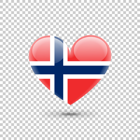 Norwegian Flag Heart Icon on Transparent Background. Vector illustration Ilustrace