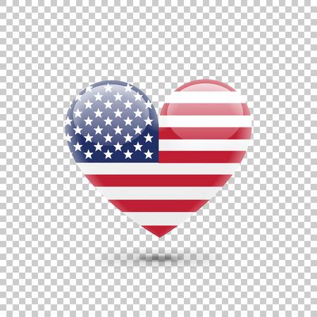 透明な背景にアメリカ合衆国のフラグのハートのアイコン。ベクトル図