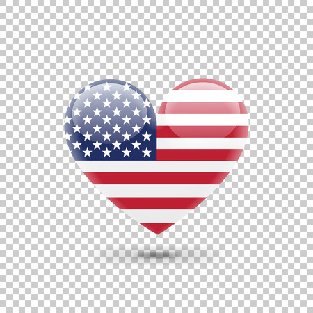 United States of America Flag Heart Icon on Transparent Background. Vector illustration Illustration