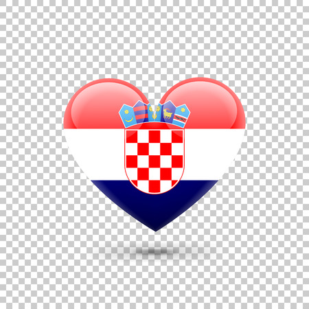 Croatian Flag Heart Icon on Transparent Background. Vector illustration Illustration