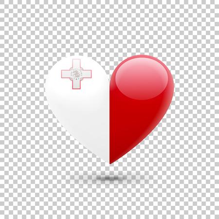 Maltese Flag Heart Icon on Transparent Background. Vector illustration Illustration
