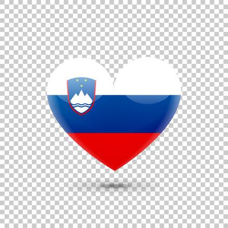 slovenian: Slovenian Flag Heart Icon on Transparent Background. Vector illustration
