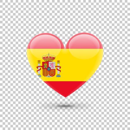 Spanish Flag Heart Icon on Transparent Background. Vector illustration