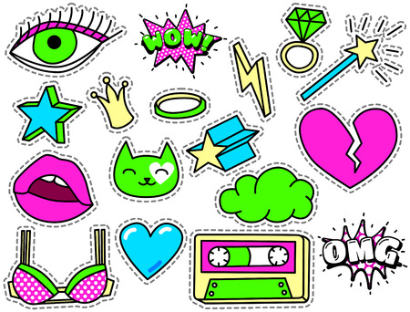 cat eye: Fashion Patch Badges with Heart, Lips, Crown, Cloud, Ring, Bra, Magic Wand, Eye, Cat. Vector Illustration Isolated on White Background. Set of Stickers, Pins, Patches in Cartoon 80s-90s Comic Style.