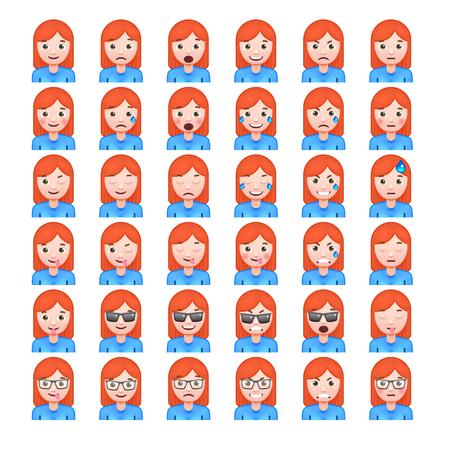 Set of Red Hair Womens Realistic Emoticons. Set of Female Emojis. Smile icons. Isolated Vector Illustration on White Background Illustration
