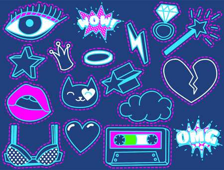 blue eye: Fashion Patch Badges with Heart, Lips, Crown, Cloud, Ring, Bra, Magic Wand, Eye, Cat. Vector Illustration Isolated on Dark Blue Background. Set of Stickers, Pins, Patches in Cartoon 80s-90s Comic Style. Illustration