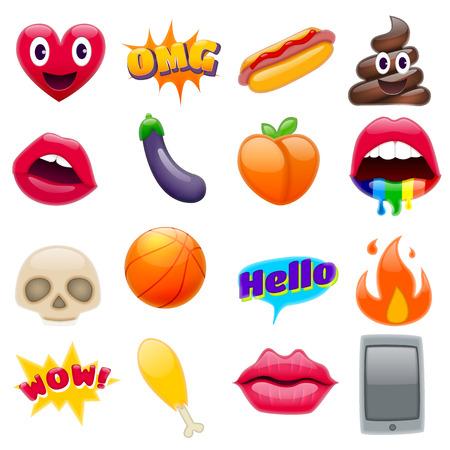 Set di emoticon di sorriso fantastico, set di design Emoji. Icone luminose delle labbra. Fuoco, Ciao espressione, cellulare, melanzana, pesca, hot dog, gamba di pollo, teschi. Adesivi e Patches