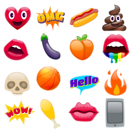 Set van Fantastische Smile Emoticons, Emoji Design Set. Heldere Pictogrammen van Lippen. Brand, Hello Expression, Mobiele Telefoon, Aubergine, Perzik, Hot Dog, Kippenbeen, Schedels. Stickers en patches Stock Illustratie