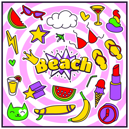 90s: Fashion Summer Patch Badges with Beach Expression, Lipstick, Bra, Hearts, Shit, Sunglasses, Banana, Drinks, Cloud, Star, Watermelon. Set of Stickers, Pins, Patches in Cartoon 80s-90s Comic Style. Illustration